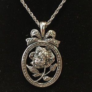 Marcasite Design Rose in Oval Pendant Necklace